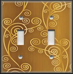 Metal Light Switch Plate Cover - Shaded Swirls Modern Decor