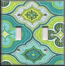 Metal Light Switch Plate Cover - Turquoise Blue Green Boho D