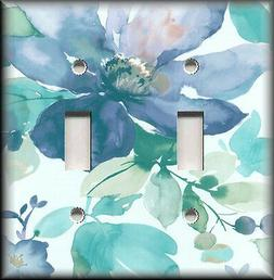 Metal Light Switch Plate Cover - Watercolor Flowers - Blue F