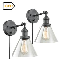 Modern Small Plug-in Wall Sconce Set of 2 with On/Off Switch
