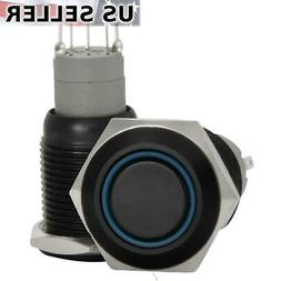 2X 16mm 12V LED Momentary Push Button Black Metal Power Swit