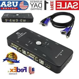 New 4-Port USB 2.0 KVM Switch Mouse/Keyboard/VGA Video Monit