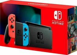 Nintendo Switch Gray Console with Neon Red and Neon Blue Joy