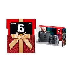 Nintendo Switch - Gray Joy-Con with Gift Card in a Red Gift