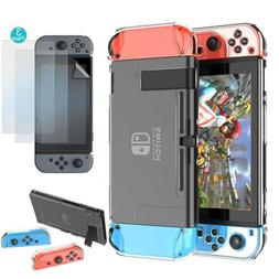 For Nintendo Switch Hard Clear Case 3 Parts Cover+3x HD Scre