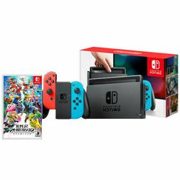 Nintendo Switch with Neon Joy-Con and Super Smash Bros Ultim