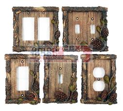 Pine Cone Switch Plate Covers Pine Faux Wood Cabin Lodge Dec