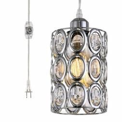 Plug In Crystal Pendant Light With On Off Dimmer Switch And