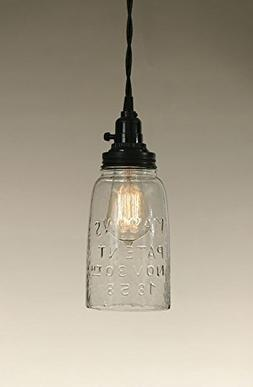 Rustic HG CLEAR Mason Jar Open Bottom Industrial Pendant Rep