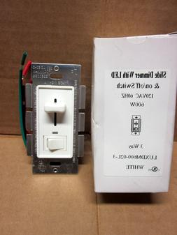 Slide Dimmer With LED & ON/Off Switch 120 VAC 3 Way White Sh