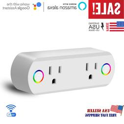 Smart Plug WiFi Socket 2 Outlet Remote Control Switch Work F