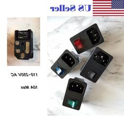 Sodial Inlet Male Power Socket with Fuse Switch 10A 250V 3 P