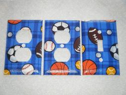Sports Ball on Blue Background light switch plate and 2 outl