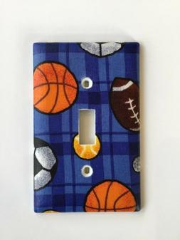Sports themed light switch plate cover football, basketball