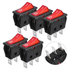 SODIAL 5 Pcs 2 Pin SPST Red Neon Light On/Off Rocker Switch