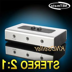2 PORT 3.5mm STEREO Manual Switch Box AUX Audio Speaker sele