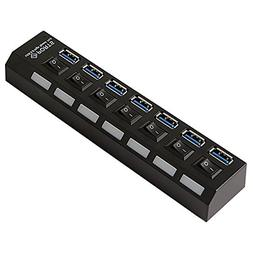 HDE 7-Port SuperSpeed USB 3.0 Hub with Individual On/Off Swi