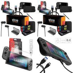 Orzly Switch Accessories Bundle BLACK Carry Case For Nintend