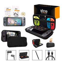 Orzly Switch Accessories Bundle, Black Orzly Carry Case for