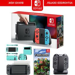 switch console with neon blue red joycon