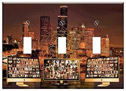 Switch Plate Triple Toggle - City Skyline Community Social M