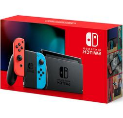 switch with neon blue and red joy