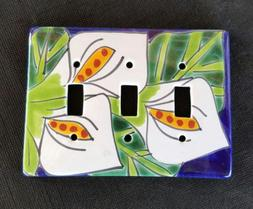 Talavera TRIPLE SWITCH Light Plate Cover -Mexico - Hand Pain
