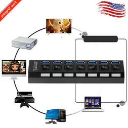 Thin 7Ports USB 3.0 Hub with On/Off Switch US AC Power Adapt