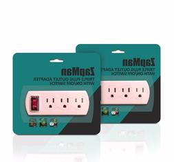 Triple Plug Outlet Adapter with On/Off Switch Energy Saving