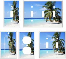 TROPICAL BEACH PALM TREE WHITE SAND # 3 LIGHT SWITCH COVER P