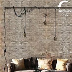 Vintage Pendant Light Kit Cord with Dimming Switch and Tripl