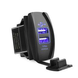 MICTUNING Universal Dual USB Charger Power Socket Blue For R