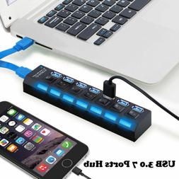 USB 3.0 7 Port Hub 5Gbps High Speed On/Off Switches AC Adapt