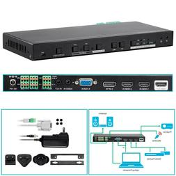 Video Scaler & Switch 4K 60Hz HDMI DP VGA 3.5mm CEC IR Learn