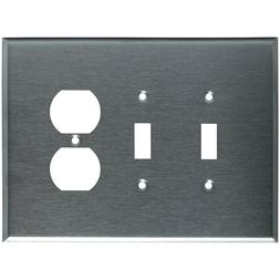 Wall Switch Plate Cover Oversized Stainless Steel 3-Gang 2 T