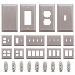 Wall Switch Plate Outlet Cover Toggle Duplex Rocker - Brushe
