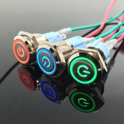 Waterproof Metal Push Button Switch With LED Light Red Blue